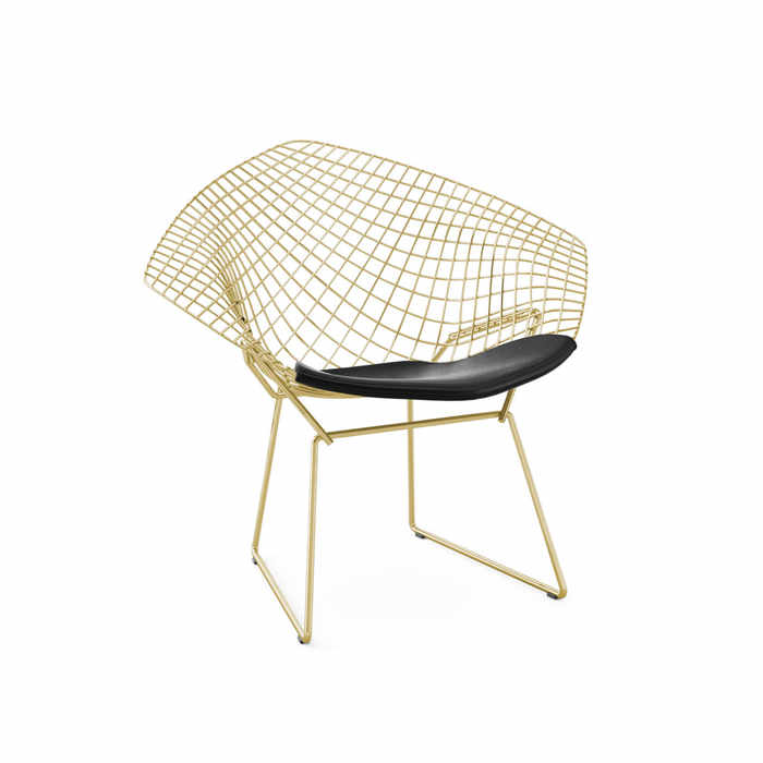 Knoll Bertoia Diamond Gold Armchair by Harry Bertoia