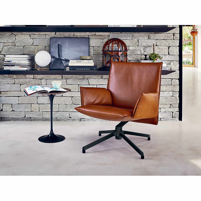 Knoll Pilot Leather Low-Back Armchair by Edward Barber and Jay Osgerby