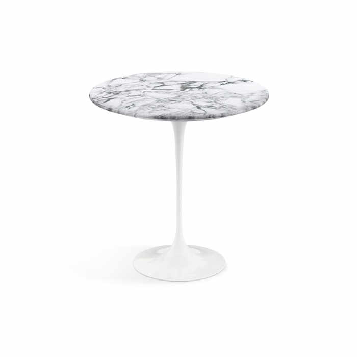 Knoll Saarinen Tulip Round Side Table - White Base by Eero Saarinen